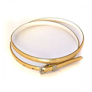 CARRIE -  Womens Gold Patent Skinny Leather Belt with Silver Buckle  - Belt N Bags