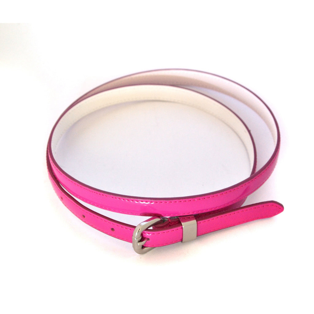CARRIE - Womens Pink Patent Skinny Leather Belt  - Belt N Bags