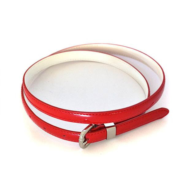 CARRIE -  Womens Red Patent Leather Belt  - Belt N Bags