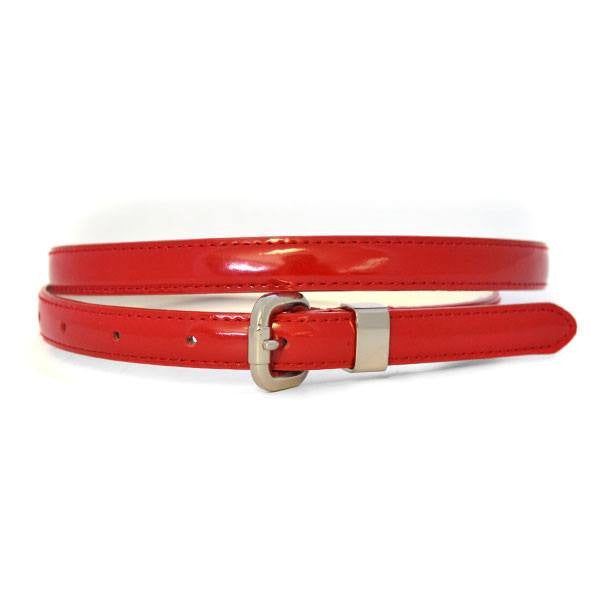 CARRIE -  Womens Red Patent Skinny Leather Belt with Silver Buckle  - Belt N Bags