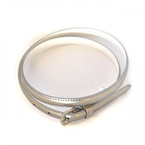 CARRIE -  Womens Silver Patent Skinny Leather Belt with Silver Buckle  - Belt N Bags