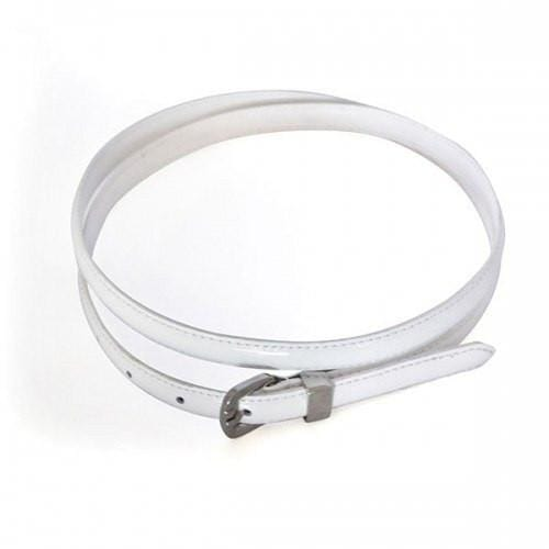 CARRIE -  Womens Off-White Patent Skinny Leather Belt with Silver Buckle  - Belt N Bags