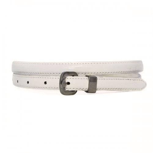 CARRIE - Womens White Genuine Leather Belt - BeltNBags