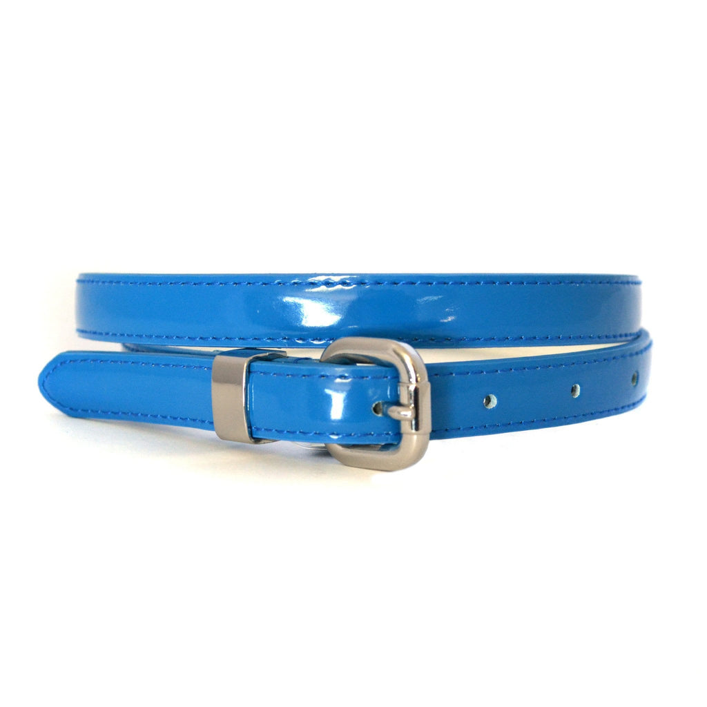 CARRIE - Womens Blue Patent Skinny Leather Belt with Silver Buckle  - Belt N Bags