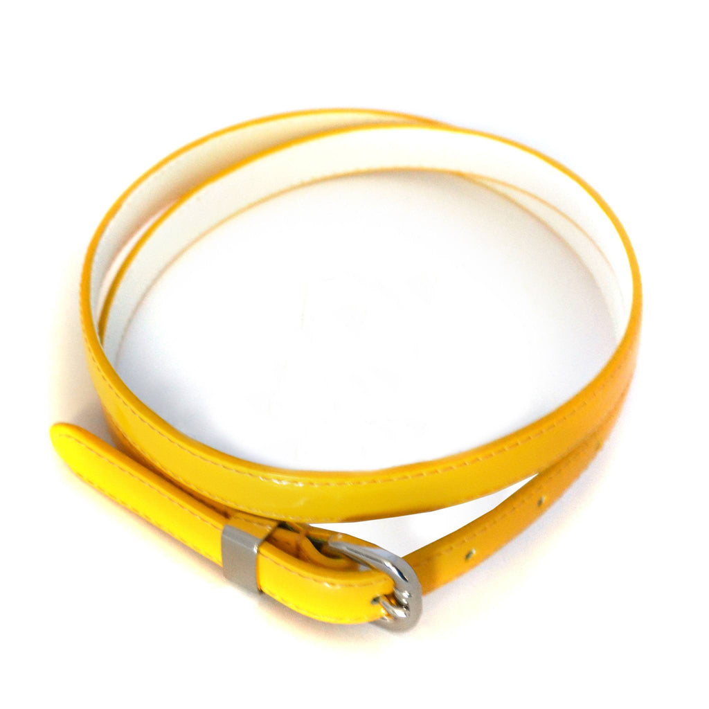 CARRIE -  Womens Yellow Skinny Patent Leather Belt  - Belt N Bags