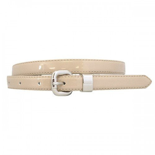 CARRIE - Womens Nude Genuine Leather Patent Belt with Silver Buckle - Belt N Bags