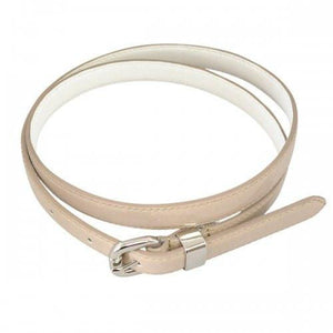 CARRIE - Womens Beige Leather Patent Belt  - Belt N Bags