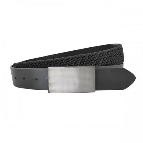 CLIVE - Mens Black Genuine Leather Flexi-Belt