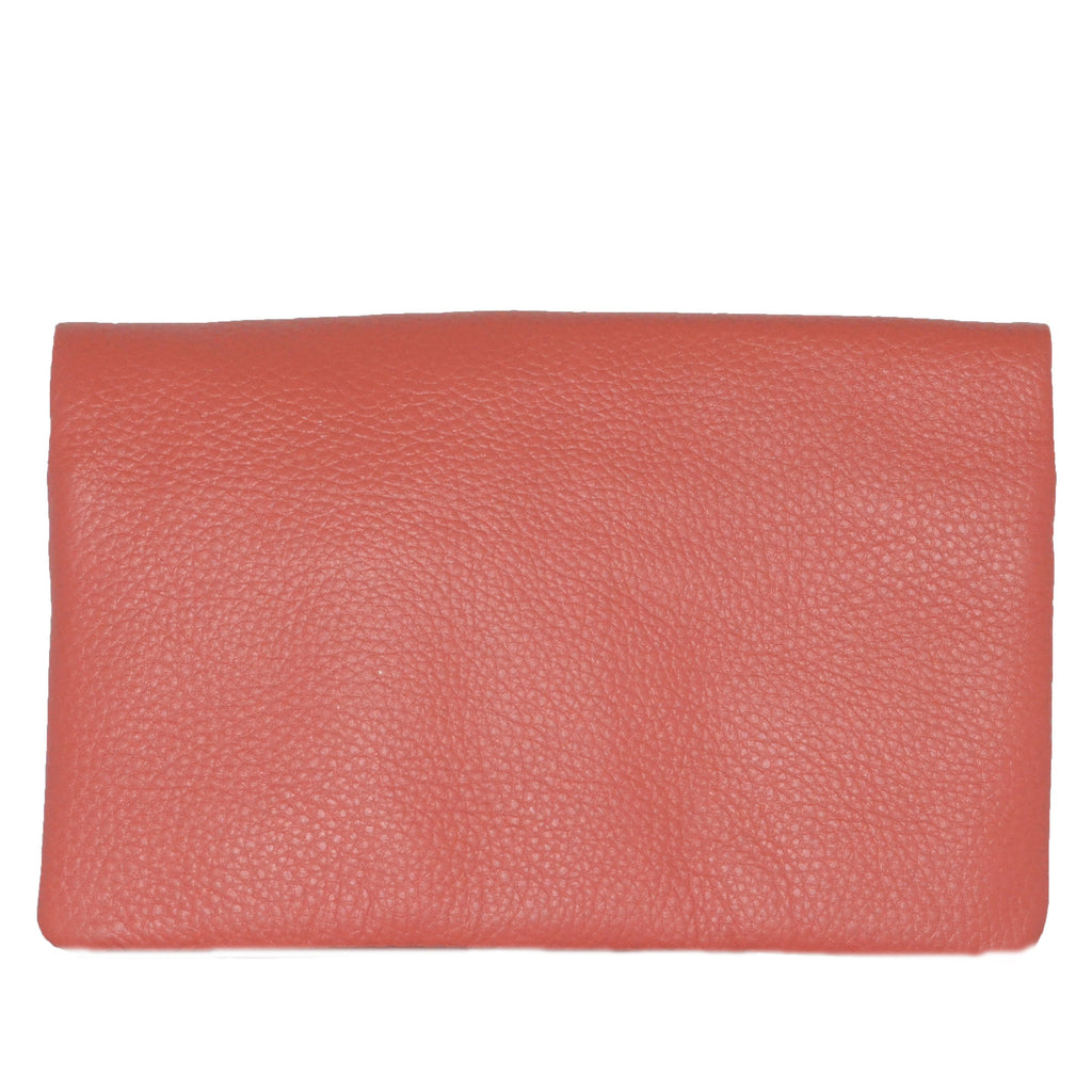 CREMORNE - Addison Road Ladies Coral Pink  Soft Pebbled Leather Fold Wallet  - Belt N Bags
