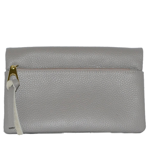 CREMORNE - Addison Road Grey Soft Pebbled Leather Fold Wallet - Addison Road