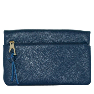 CREMORNE - Addison Road Navy Soft Pebbled Leather Fold Wallet - Addison Road
