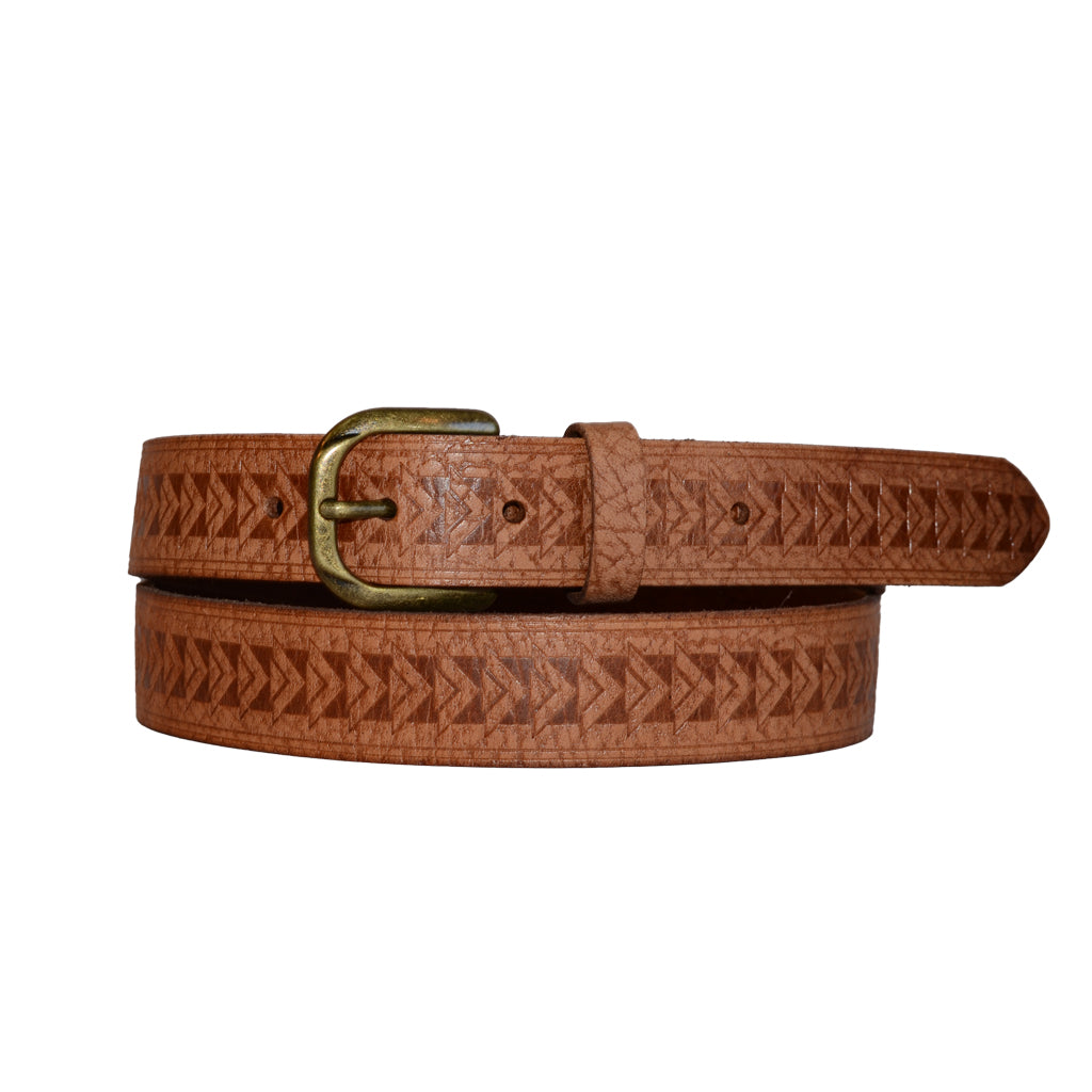 CEASAR - Mens Embossed Tan Genuine Leather Belt  - Belt N Bags