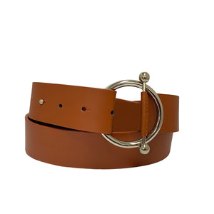 CAMELLIA - Women's Tan Genuine Leather Ring Belt