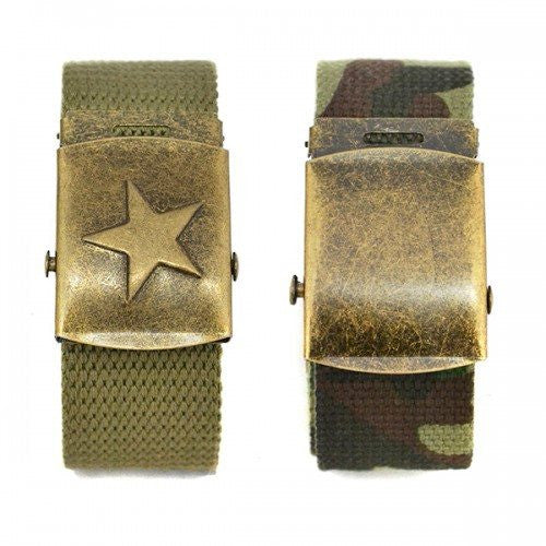ALFA - Camo Military Army Style twin pack with two Webbing Belts - Belt N Bags