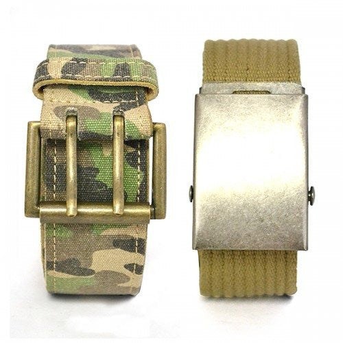 BRAVO - Camo Military Army Style twin pack with two Webbing Belts - Belt N Bags