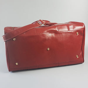 CANTERBURY - Red Faux Leather Duffle Bag  - Belt N Bags