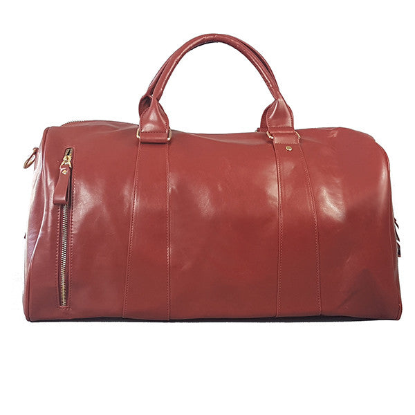 CANTERBURY - Deep Red Faux Leather Overnight Duffle Weekender Bag - Belt N Bags