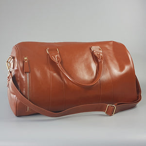 CANTERBURY - Tan Faux Leather Overnight Weekender Bag - Belt N Bags