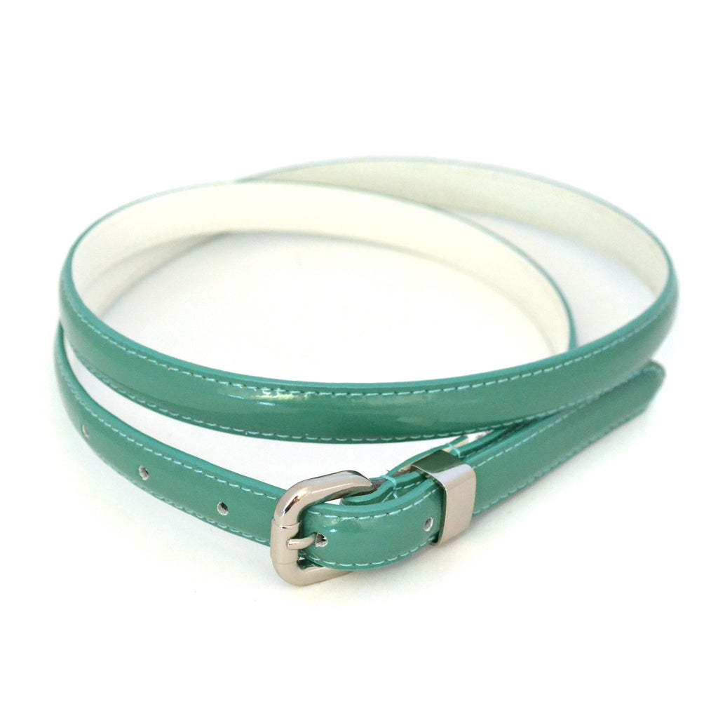 CARRIE -  Womens Forest Green Patent Skinny Leather Belt with Silver Buckle  - Belt N Bags