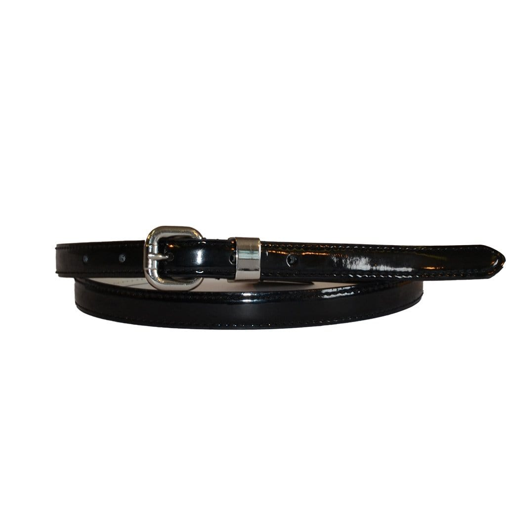 CARRIE - Womens Black Patent Skinny Leather Belt with Silver Buckle  - Belt N Bags