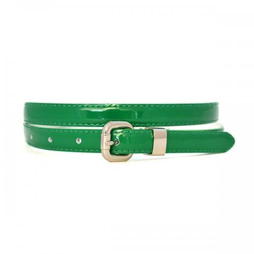 CARRIE -  Womens Green Patent Skinny Leather Belt with Silver Buckle  - Belt N Bags