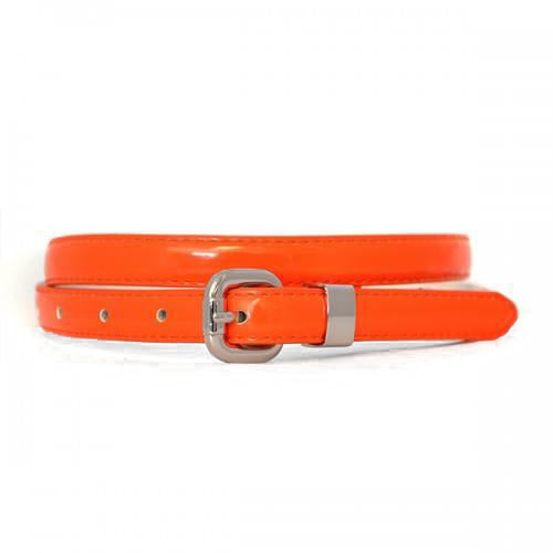 CARRIE - Orange Patent Skinny Leather Belt  - Belt N Bags