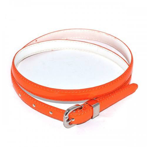 CARRIE - Orange Patent Skinny Leather Belt with Silver Buckle  - Belt N Bags