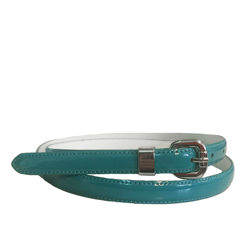 CARRIE - Womens Light Blue Patent Skinny Leather Belt with Silver Buckle  - Belt N Bags