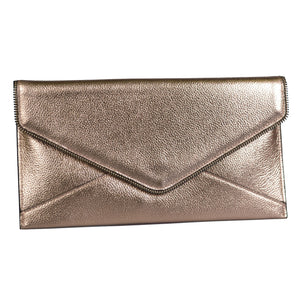 CASTLECRAG - Genuine Pebbled Leather Clutch Rose Gold with Zipper Detailing  - Belt N Bags