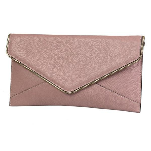 LARISSA - Womens Dusty Pink Genuine Leather Clutch  - Belt N Bags