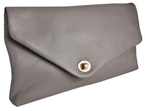 Centennial Park - Womens Grey Pebbled Leather Clutch Bag  - Belt N Bags