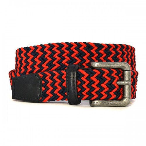 CHANCE - Unisex Woven Red and Navy Elastic Stretch Belt - BeltNBags