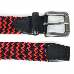 CHANCE - Woven Red and Navy Elastic Stretch Belt  - Belt N Bags