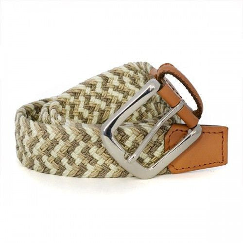 CHAYCE - Unisex Woven Cream Elastic Stretch Belt - BeltNBags
