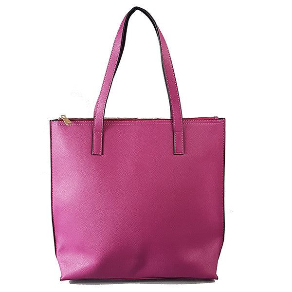 CHERMSIDE  - Magenta Structured Saffiano Shopper  - Belt N Bags