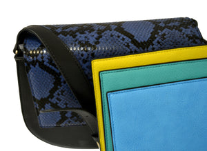 Cleo  - Womens Snakeskin Faux Leather Crossbody with Interchangeable Lids  - Belt N Bags