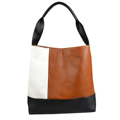 COLLAROY - Tan/White/Black colour block leather shopper