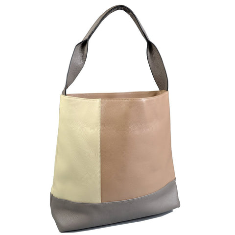 COLLAROY - Nude/Cream/Grey colour block leather shopper