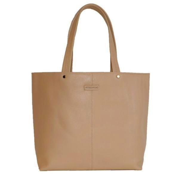 CORAL BAY-  Beige Soft Leather Shopper Tote Bag  - Belt N Bags