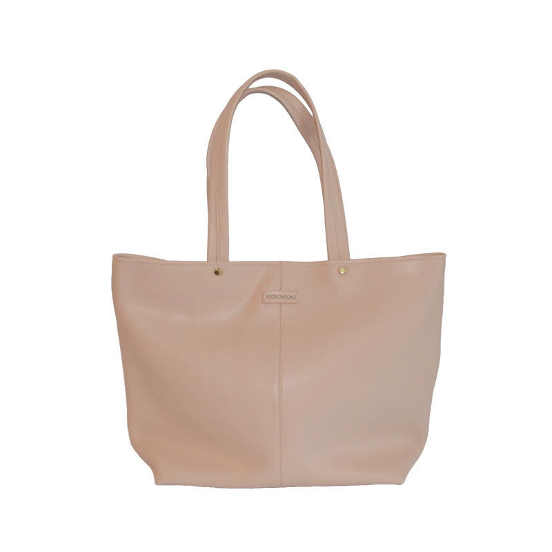 CORAL BAY-  Nude Soft Leather Shopper Tote Bag  - Belt N Bags