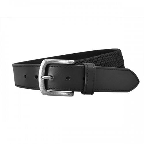 DAMIEN - Mens Black Genuine Leather Flexi-Belt-Mens Belt-BeltNBags-BeltNBags