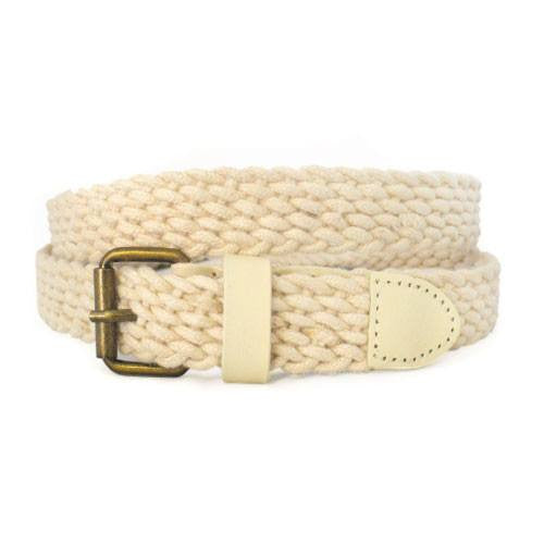 DANNY - Casual Cream Cotton Webbing Belt - BeltNBags
