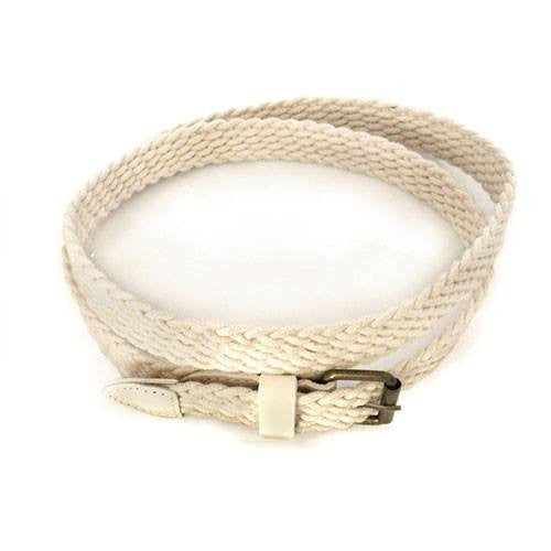 DANNY - Casual Cream Cotton Webbing Belt - Belt N Bags
