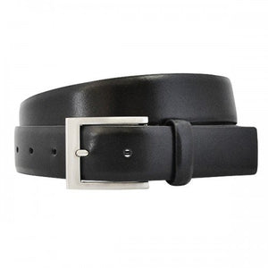 DARIO - Mens Black Leather Dress Belt with Silver Buckle  - Belt N Bags