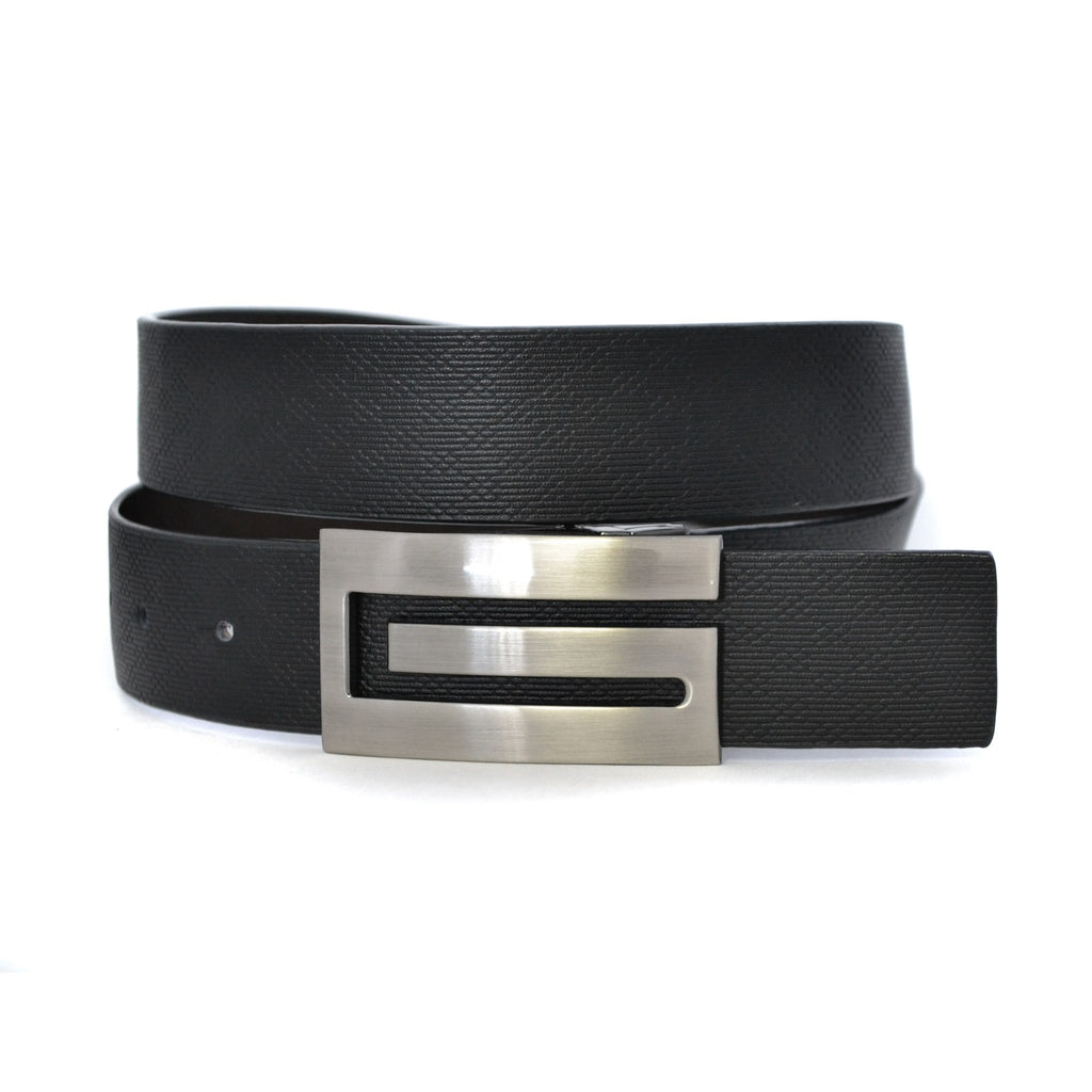 DAVID - Mens Black & Brown Leather Belt - Belt N Bags
