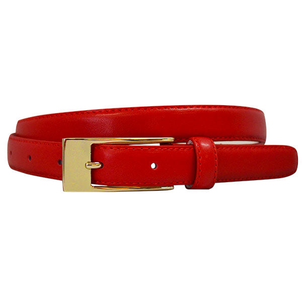 DEANEEN - Womens Red Genuine Leather Belt with Golden Buckle  - Belt N Bags