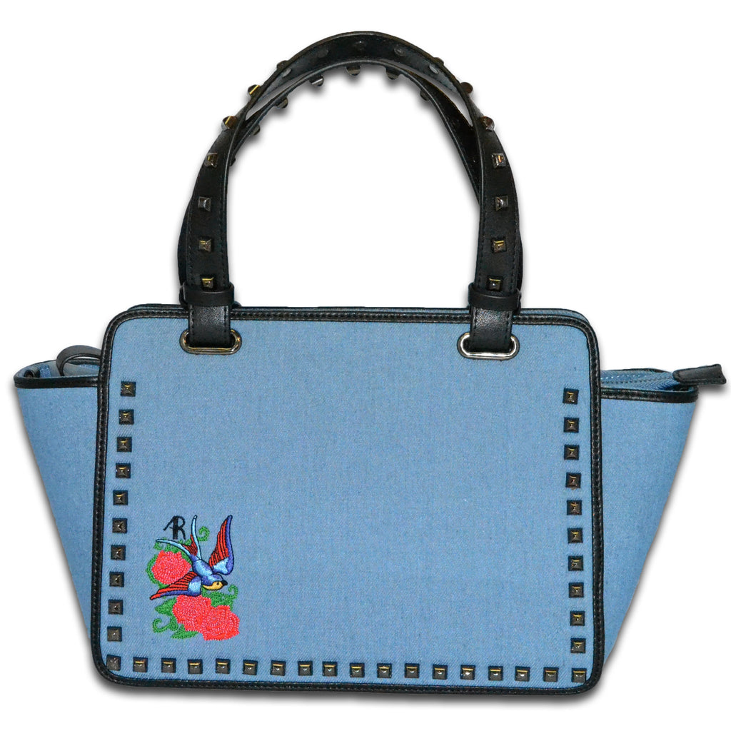 DENMAN - Womens Embroidered Floral Across Body Bag With Studded Handle  - Belt N Bags