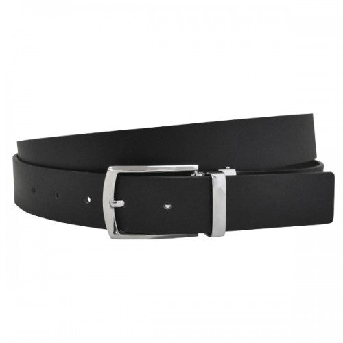 DENVER - Mens Black and Chocolate Bonded Leather Belt - Belt N Bags