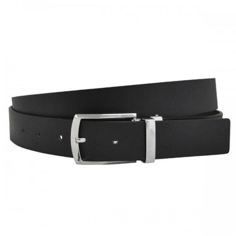 DENVER - Mens Black and Chocolate Bonded Leather Belt
