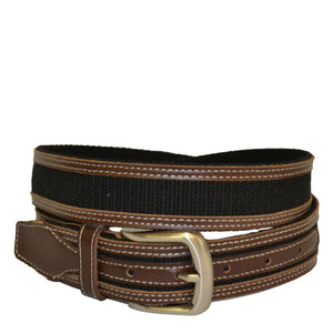 BYRON - Cotton Canvas Men's Black and Brown Leather Belt - BeltNBags
